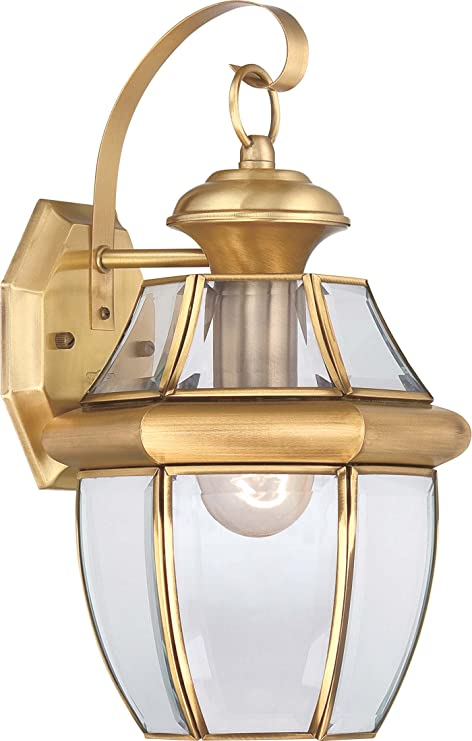 Quoizel Ny8316b Newbury Outdoor Wall Lantern Wall Mount Lighting 1 Light 150 Watt Polished Brass 14 H X 8 W Wall Porch Lights