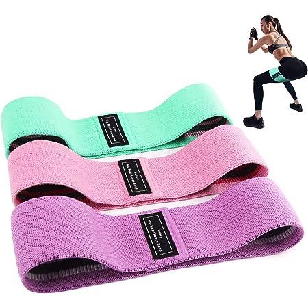 ANNA TOSANI Bandas de Resistencia (Set de 3), Bandas Elasticas de Fitness para Yoga, Pilates, Estiramientos Bandas Antideslizantes de Ejercicios para Fuerza de Piernas y Glúteos (Rosa+Púrpura+Verde)