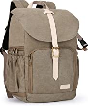 """BAGSMART Camera Backpack, Anti-Theft DSLR SLR Camera Bag Water Resistant Canvas Backpack Fit up to 15"""" Laptop with Rain Cover, Tripod Holder for Women and Men, Light Olive Green"""