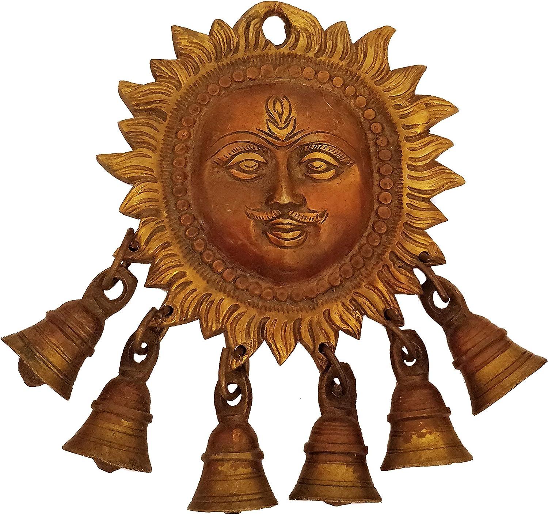 GURU 返品交換不可 JEE Handmade Brass Statue Sun Hindu Bells トレンド God Face 6 Surya