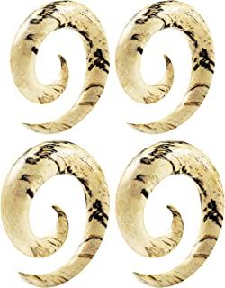 2 Pairs Tamarind Wood Spiral Coil Taper Expander Piercing Jewelry Ear Stretching Earring Gauges Lobe Two Size Plugs