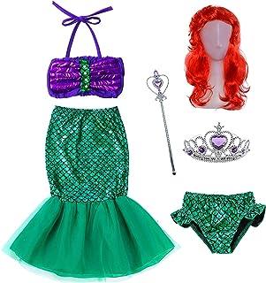 The Little Girls Mermaid Princess Dress Costume Wig Tiara Wand(18M-12T)