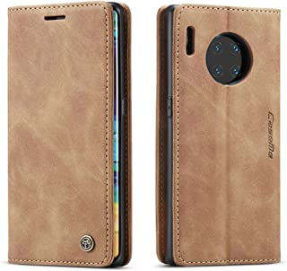 For Huawei Mate 30 Pro Brown Leather Magnetic Flip Wallet Case Cover