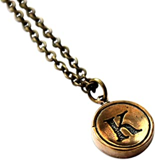 Gwendelicious - Solid Bronze - Typewriter Key Letter Initial Pendant Necklace - All Letters Available - Combine Multiple Charms on One Chain - 18 Inch Bronze Chain - Fashion Jewelry