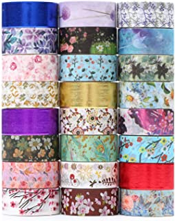 Floral Washi Tape 24 Rolls Set,Decorative Masking Tape Japanese Paper Tapes Fabric Tape for Arts and Crafts, DIY Projects, Scrapbooks, Calendar, Bible Journaling and Gift Wrapping