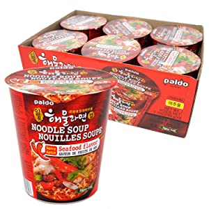 Paldo Fun & Yum Il Poom Seafood Instant Cup Noodles with Spicy Seafood Based Broth, Best Oriental Style, Original Korean Ramyun, K-Food, 일품 해물라면 컵 65g (2.3 oz) x 6 Pack