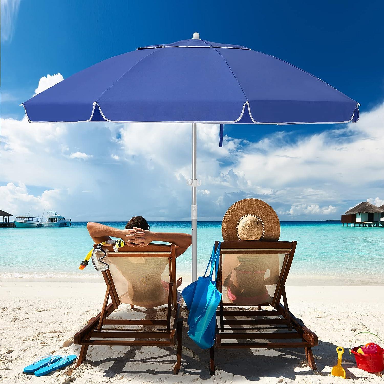 MEWAY 7.5ft 超歓迎された 出群 Beach Umbrella with Sand Mechanism Po Anchor Tilt