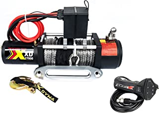 17000lbs Waterproof Winch with Adjust Torque Limited Protector, 6.6HP Motor, Intelligent Remote Handle Showing Load Red Warning,100% Engaged Stainless Clutch, Synthetic Rope, Used to SUV Jeep Track