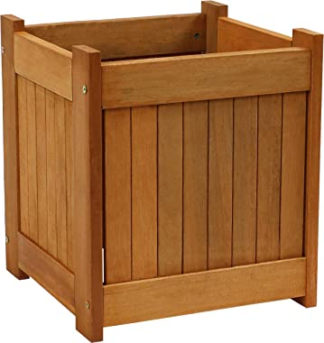 Sunnydaze Meranti Wood Outdoor Planter Box with Teak Oil Finish - Square Wooden Flower and Herb Pot for Garden, Porch and Pat