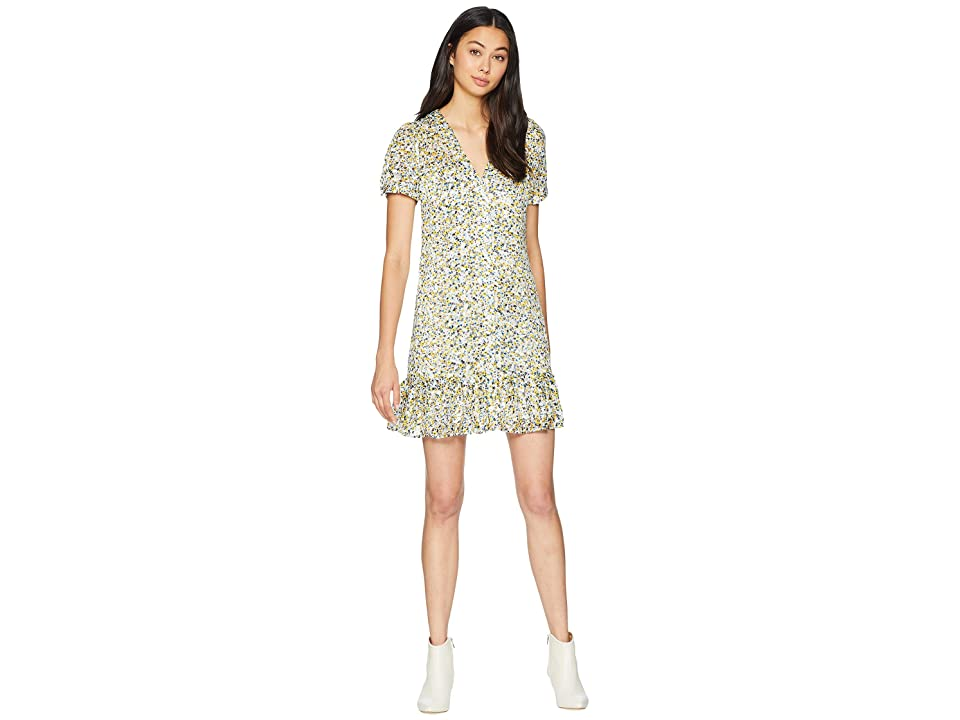 Juicy Couture Ditsy Burnout Chiffon Button Front Dress (Angel Classic Ditsy) Women