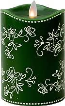 Boston Warehouse Tara Mystique Temp-tations 5-inch Floral Lace Flameless Pillar Candle Green