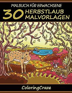 Malbuch für Erwachsene: 30 Herbstlaub Malvorlagen Bunte Jahreszeiten, Band 3