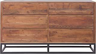 TUP The Urban Port Modern Acacia Wood Dresser or Display Unit with Metal Base, Walnut Brown and Black