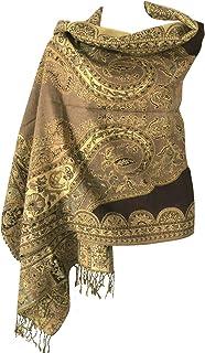 Women Soft Metallic Sparkly Luxurious Double Layer Reversible Pashmina Shawl Wrap Scarf