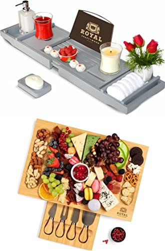 """2021 Luxury lowest Bathtub Caddy Tray and Unique Bamboo Cheese Board w/Knives, 17""""x11"""" by Royal Craft discount Wood outlet online sale"""