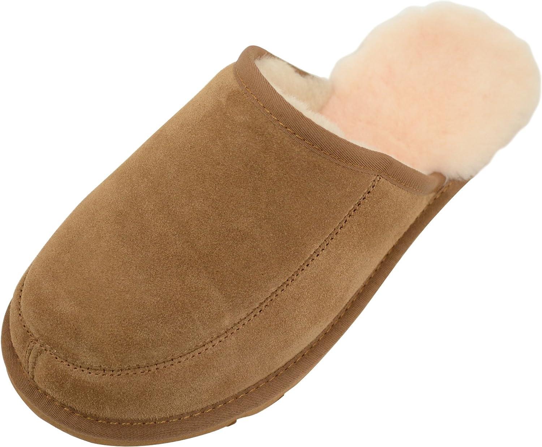 SNUGRUGS Mens Sheepskin Mule Slipper with Lightweight Flexible Sole
