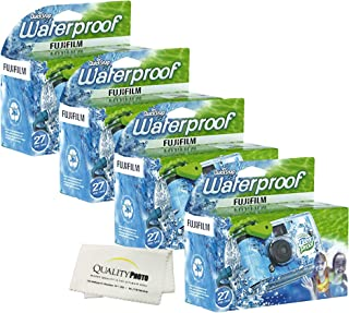 Fujifilm Quick Snap Waterproof 27 exposures 35mm Camera 800 Film, 1 Pack + Quality Photo Microfiber Cloth (4 Pack)