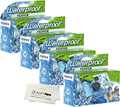 Quick Snap Waterproof 27 exposures 35mm Camera 800 Film, 1 Pack + Quality Photo Microfiber Cloth (4 Pack)