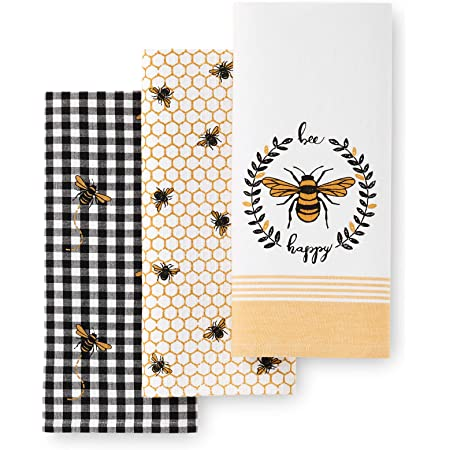 Details about  /Cooksmart Bee Happy Pack of 3 Tea Towels