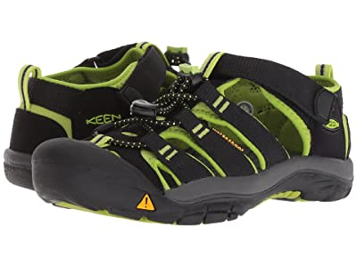 Keen Kids Newport H2 (Little Kid/Big Kid) (Black/Lime Green) Boys Shoes