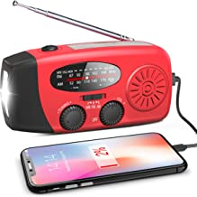 Emergency Hand Crank Radio, Portable Self Powered AM/FM/NOAA Solar Wind Up Weather Radio, with LED Flashlight, USB Recharg...