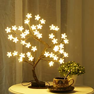 Bolylight LED Cherry Blossom Tree Lights Table Lamp 16.73'' 40L Centerpiece & Indoor and Outdoor Artificial Decoration Lighted Tree for Bedroom/Party/Wedding/Office/Home Warm White