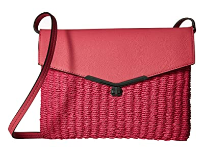Botkier Valentina Convertible Straw Crossbody (Fuchsia) Cross Body Handbags