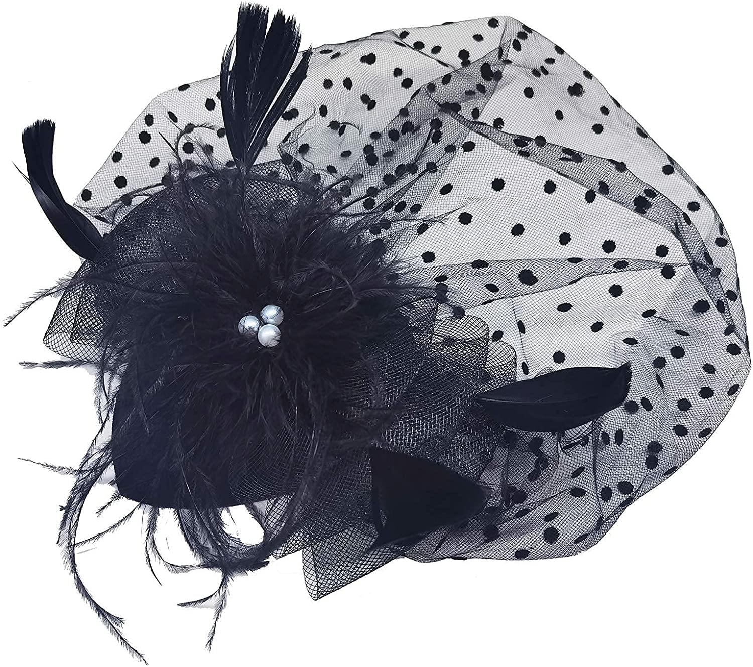 Diwlolido Fascinators Hats Pillbox Hat Cocktail Tea Party Feather Hair Clip Wedding Headwear with Veil for Women and Girls