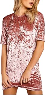R.Vivimos Women's Summer Short Sleeve Crushed Velvet Mini Short Dresses