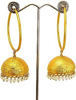 Kashmiri jhumkas-GOLD & Pearl JHUMKA Earrings-Large gold Jhumkas-Gold hoop earrings-Dome earrings-Indian Jewellery