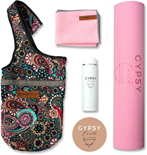Yoga Carry Bag with Yoga mat with Free Sustainable Water Bottle and Micro Fiber Towel, Fit Most Size Mats, Multi-Functional Usage, Yoga Tote Bag, Yoga Gift Set, Yoga Starter Kit