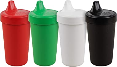 product image for Re-Play Made in The USA 4pk No Spill Cups for Baby, Toddler, and Child Feeding in Red, Kelly Green, White and Black |Made from Eco Friendly Heavyweight Recycled Milk Jugs | (Christmas+)
