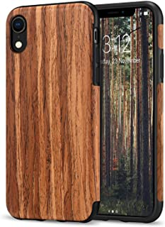 TENDLIN Compatible with iPhone XR Case Wood Grain Outside Design and Flexible TPU Silicone Hybrid Slim Case Compatible wit...
