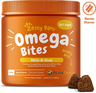 Zesty Paws Omega 3 Alaskan Fish Oil Chew Treats for Dogs - with AlaskOmega for EPA & DHA Fatty Acids - for Shiny Coats & Itch Free Skin - Hip & Joint Support + Heart & Brain Health – Bacon