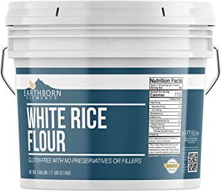 White Rice Flour (1 Gallon Bucket) by Earthborn Elements, Gluten Free Baking, Unbleached, Vegan, Fat Free, No Sodium, Rese...