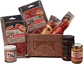Carnivore Club Gourmet Gift Basket - Gourmet Food 7 Piece Set - Salamis Mustard Olives - 1.5 Lbs of Meat - Comes in a Handcrafted Wooden Crate - Great with Crackers and Cheese and Wine
