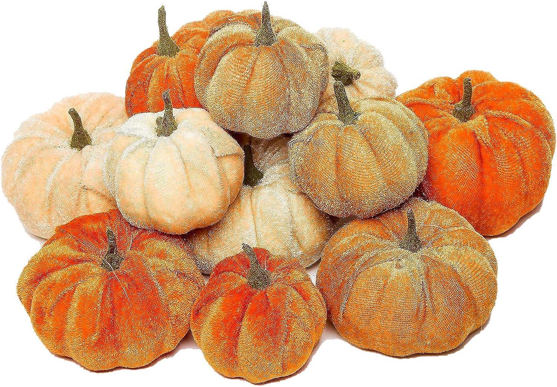 GUANGLU Halloween Decoration 12PCS Artificial Mat Pumpkin Long Beach Mall latest Velvet