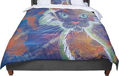 KESS InHouse Alyzen Moonshadow Birds In Love Blue Navy Purple Queen Comforter 88 X 88