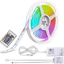 B.K.Licht taśma LED, łańcuch świetlny LED, listwa LED, biały, kolorowy, 5 m, w zestawie pilot zdalnego sterowania, zmiana ...