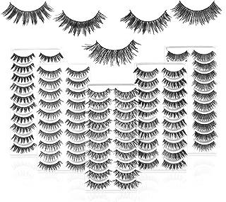 50 Pairs 5 Styles MUSELASH False eyelashes set professional 100% Handmade natural, glamorous, demi wispies, wispies, volume multipacks, cotton band, 10 Pairs Eyes Lashes Each Style