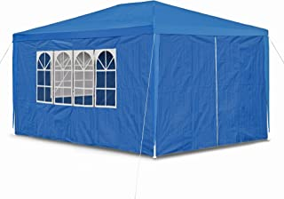 JOM 127293 Carpa de jardín, 3 x 4 m, con 4 Paredes Laterales, 3 Ventanas y 1 Puerta con Cremallera, Material PE 100G, Azul Marino