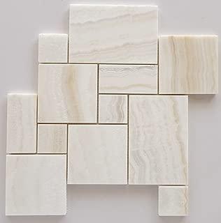 White Onyx OPUS Mini Pattern Mosaic Tile, Vein-Cut, Polished - Sample