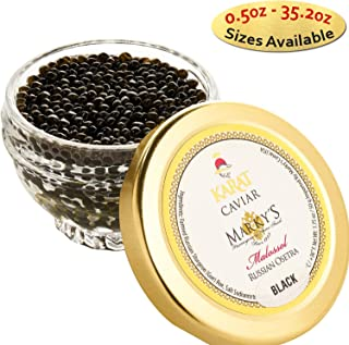 Marky's Russian Osetra Karat Black Caviar – 1 oz Premium Osetra Sturgeon Malossol Black Roe – GUARANTEED OVERNIGHT