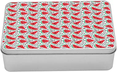 Lunarable Watermelon Metal Box, Summer Pattern of Fruit Slices, Multi-Purpose Rectangular Tin Box Container with Lid, 7.2&#34