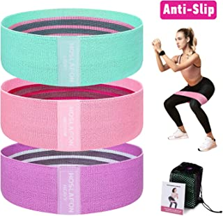 hoslafon Resistance Bands for Legs and Butt, Non-Slip Booty Bands, 3 Levels Glute Bands with Thick Wide Fabric, Workout Bands for Women/Men, Elastic Exercise Bands for Squat Hip Training Home Fitness