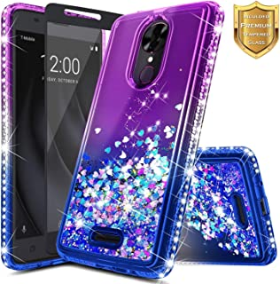 REVVL Plus Case (T-Mobile) w/[Full Coverage Tempered Glass Screen Protector], NageBee Glitter Liquid Quicksand Waterfall Floating Flowing Sparkle Shiny Bling Diamond Girls Cute Case -Purple/Blue