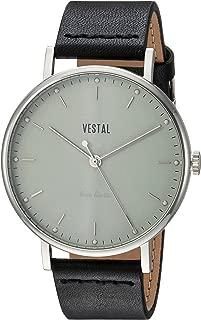 Vestal Sophisticate Stainless Steel Swiss-Quartz Watch with Leather Calfskin Strap, Black, 20 (Model: SPH3L06)
