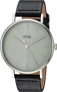 Vestal Sophisticate Stainless Steel Swiss-Quartz Watch with Leather Calfskin Strap, Black, 20 (Model: SPH3L06)