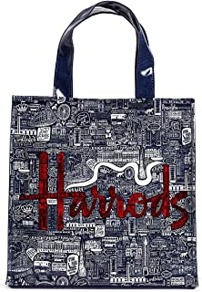 英国 Harrods [ハロッズ] 2021年 AW ピクチャー・フォント ロンドンがギュッと詰まった トートバッグ ショッピングバッグ Sサイズ ハロッズのロゴリボン ラッピングセット [並行輸入品]