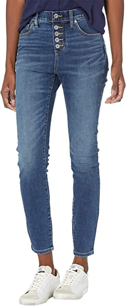 Valentina Skinny Pull-On Jeans with Faux Button Fly
